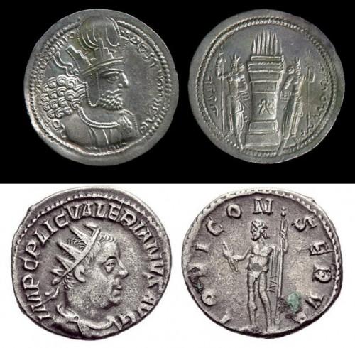 سکههای شاپور و والرین.