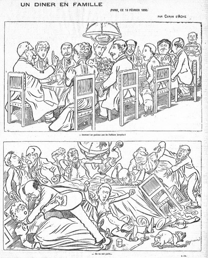 این کارتون را که «یک شام خانوادگی» نام دارد، Caran d'Arche کارتونیست فرانسوی دربارهی دوقطبی شدن جامعهی فرانسه پس از ماجرای دریفوس کشیده است.