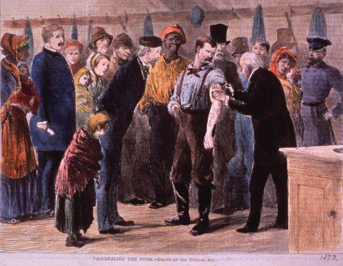 «مایهکوبی فقرا» (Vaccinating The Poor)، اثر سول اتینگ (Sol Eytinge Jr: 1833-1905)، نقاش آمریکایی که نقاشیهایش بیشتر در روزنامهها و مجلات و همچنین کتابهای چارلز دیکنز و آلفرد لُرد تنیسون منتشر میشد