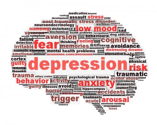 Depression conceptual design isolated on white