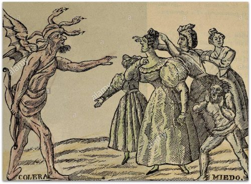 وبا در شهر بارسلونا بین سالهای ۱۸۳۴ و ۱۸۶۵ جان بیش از ۱۳ هزار نفر از اهالی را گرفت.