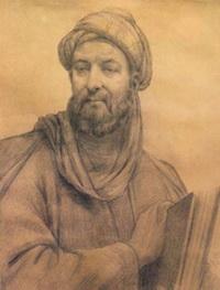 چهرهی ابوعلیسینا. نقاش: ابوالحسن صدیقی. این تصویر توسط انجمن آثار ملی رسماً بهعنوان چهرهی اصلی بوعلی سینا شناخته شد (سیاه قلم روی کاغذ، 1324)